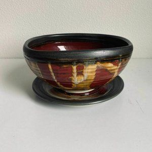 Vintage Stoneware Planter Bowl & Drain Plate Red
